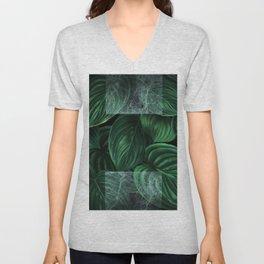 tropical green pattern on black Unisex V-Neck