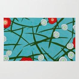 Japenese Water Flowers Pattern Rug