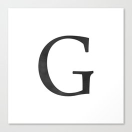 Letter G Initial Monogram Black and White Canvas Print