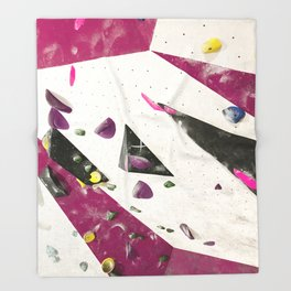 Maroon climbing wall boulders bouldering gym abstract geometric print Throw Blanket