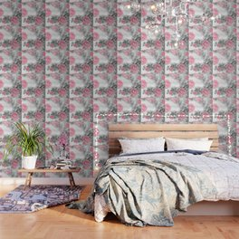 ROSES PINK WITH CHERRY BLOSSOMS Wallpaper