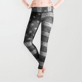 US flag, Old Glory in black & white Leggings