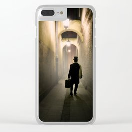 Victorian man with top hat Clear iPhone Case
