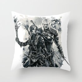 Geralt and Cirilla Throw Pillow