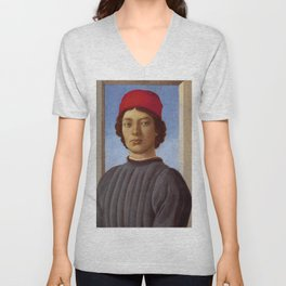 "Sandro Botticelli ""Portrait of a young man with red hat"" Unisex V-Neck"