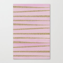 Soft Pink and Gold faux Glitter Stripes Canvas Print