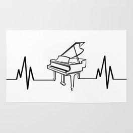 Piano Player Heartbeat Funny Rug