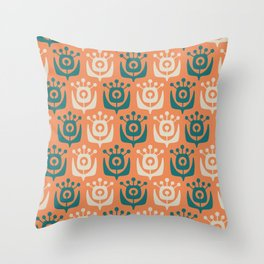 Mid Century Modern Retro Flower Pattern Orange and Teal 931 Throw Pillow