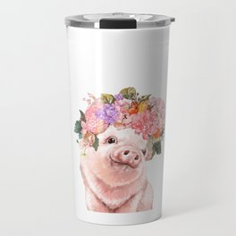 Lovely Baby Pig with Flowers Crown Travel Mug