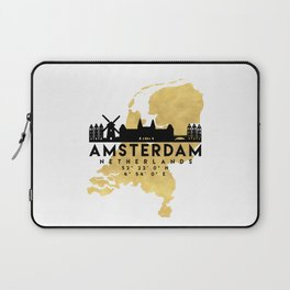 AMSTERDAM NETHERLANDS SILHOUETTE SKYLINE MAP ART Laptop Sleeve