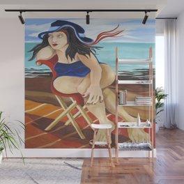 Wind Blown Lady In Beach Chair Wall Mural
