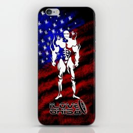 BODY BUILDING. I LOVE GHISA. with USA flag iPhone Skin