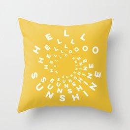 Hello Sunshine #minimal #typography #summervibes Throw Pillow