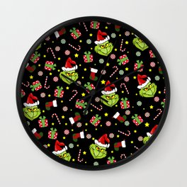 Grinch pattern Wall Clock