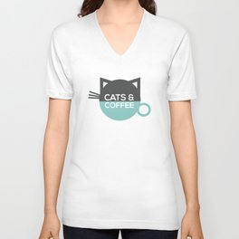 Cats and coffee Unisex V-Neck