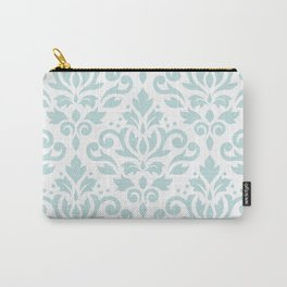 Scroll Damask Lg Pattern Duck Egg Blue on White Carry-All Pouch