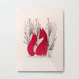 Fox in Shrub Metal Print