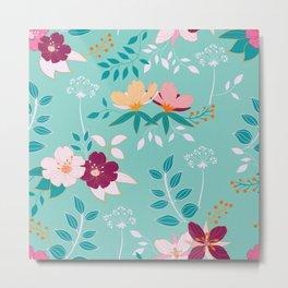 Exotic Flower Pattern Metal Print