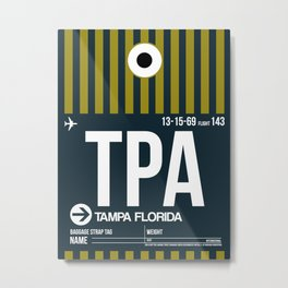 TPA Tampa Luggage Tag 2 Metal Print