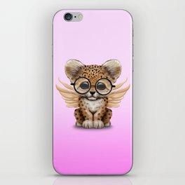 Cute Leopard Cub Fairy Wearing Glasses Pink iPhone Skin