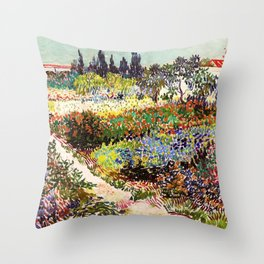 Vincent Van Gogh Flowering Garden Throw Pillow