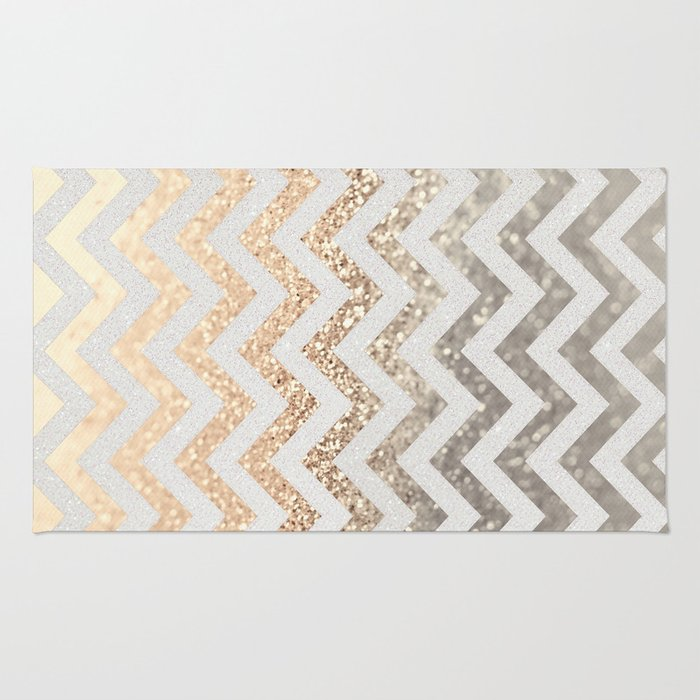 Gold Amp Silver Chevron Rug By Monikastrigel Society6