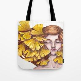Unfold Watercolor Gingko Leaf Illustration Tote Bag