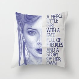 Fierce little girl Throw Pillow