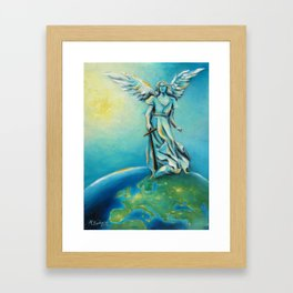 Archangel Michael - Hand painted Angel Art Framed Art Print