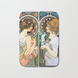"Alphonse Mucha ""Primrose and Feather"" Bath Mat"