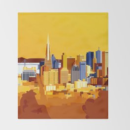 San Francisco on a sunny day Throw Blanket