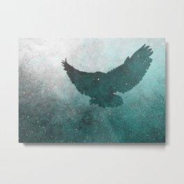 Owl Silhouette   Swooping Owl Ghost   Space Owl Metal Print