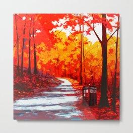 Tardis Art Autumn Metal Print