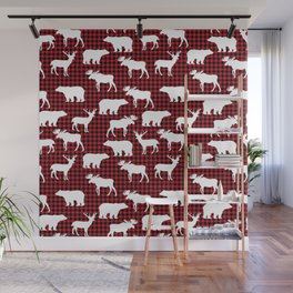 Plaid camping animals minimal bear moose deer nursery decor gender neutral woodland Wall Mural