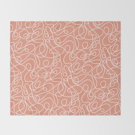 Doodle Line Art | White Lines on Coral Background Throw Blanket