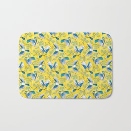 Flying Birds and Oak Leaves on Yellow Bath Mat