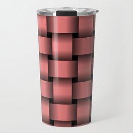 Large Pastel Red Weave Travel Mug