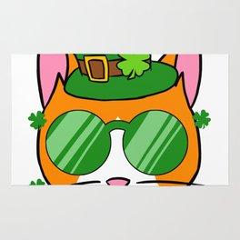 Irish Cat - St. Patricks Day Shamrock Hat Rug