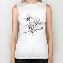 Alchemy symbol with moon and flowers Biker Tank