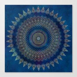 Blue Detailed Mandala Esoteric Pattern Canvas Print