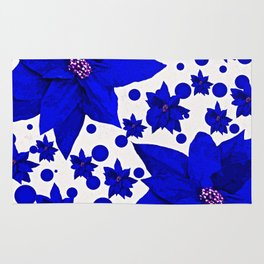 Poinsettia Blue Indigo Pattern Rug