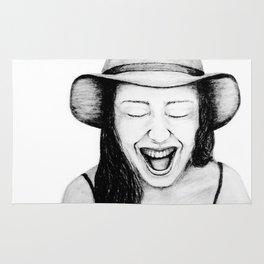 So Amused! Expressions of Happiness Series -Black and White Original Sketch Drawing, pencil/charcoal Rug