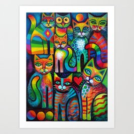 Owl and Pussicats Art Print