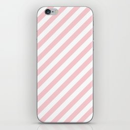Light Millennial Pink Pastel and White Candy Cane Stripes iPhone Skin