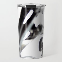 Black and White Abstract Patterned Metal Gate Design Travel Mug