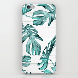 Turquoise Palm Leaves on White Wood iPhone Skin