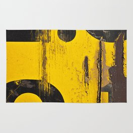 black numbers on yellow background Rug