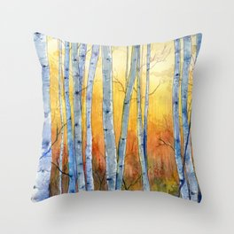 Birch Trees at Sunset Throw Pillow