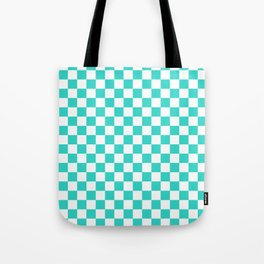 Small Checkered - White and Turquoise Tote Bag