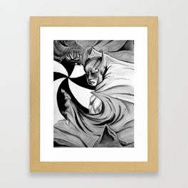 Bat man in Black and White Framed Art Print